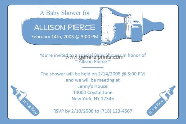 ... Baby Bottle Shower Invitations Boy