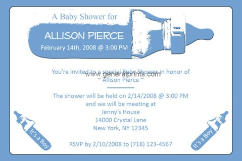 baby bottle shower invitations boy