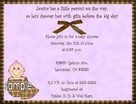 baby peanut girl baby shower invitaitons