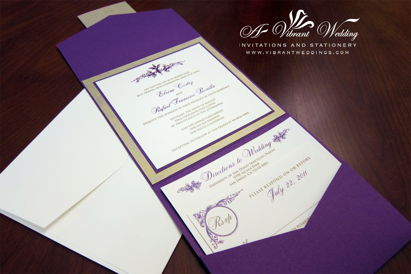 Purple Wedding Invitations – Gold and Purple Wedding Invitations