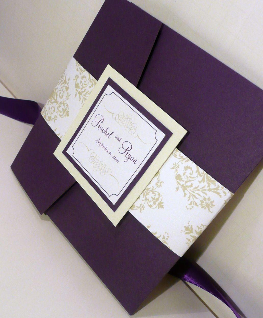 Royalty and elegant purple wedding invitations wedding for Examples of wedding invitation envelopes