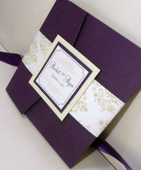 purple envelope wedding invitations