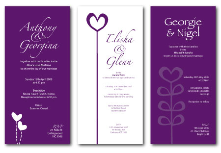 purple hearts wedding invitations - Wedding Invitations Purple